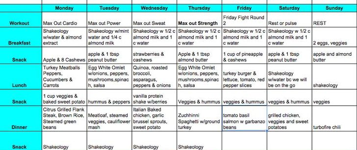 Insanity Workout Meal Plan On A Budget | sport1stfuture org